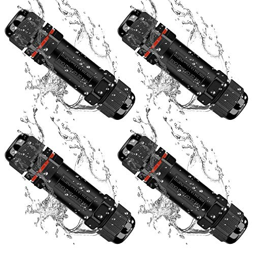 Kabelverbinder Wasserdicht IP68, TOCYORIC 4 Pack Verbindungsbox 3-polig Erdkabel Verbindungsmuffe für Ø3-12 mm Kabeldurchmesser, Schwarz