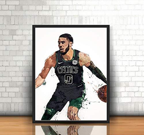 Jayson Tatum Poster, Canvas Boston Celtics Wall Art Decor, Gym, Home Living, Kids, Gift, Basement, Office, ManCave, Splash Paint - (Premium Print 8x10)- Portrait