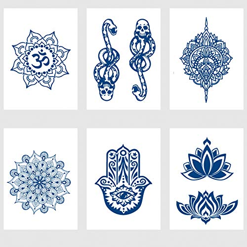 Kotbs 6 Sheets Juice Ink Lasting Waterproof Temporary Tattoo Sticker Madana Lotus Totem Flower Tattoos Body Art Arm Fake Tatoo Women Men