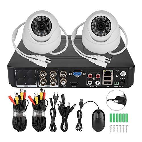 Sistemas de seguridad para el hogar, cámara HD, píxeles remotos, cámara de seguridad de 2 canales, hogares de vigilancia 1080P para tiendas(100-240V European standard)