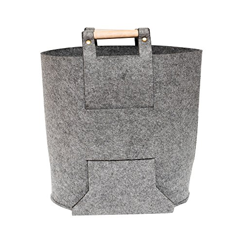 Borsa tote Korbond – Borsa a secchiello per la spesa in feltro grigio con manici in legno