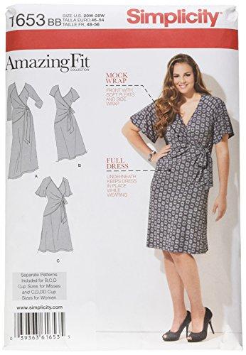 Simplicity patroon 1653 dames gebreide jurk in twee lengtes maten 20W-28W