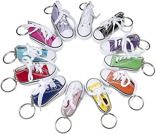 Comius Sharp Llavero Zapatilla de Deporte, 12 Pcs Mini Llaveros Estilo Tipo Converse, Llaveros de Lona para Comuniones y Cumpleaños Infantiles, Juveniles y Niños