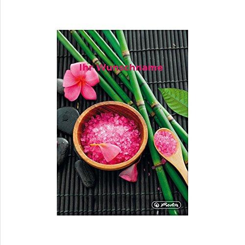 Herlitz, notitieboek, DIN A5, 96 vellen, geruit, zout en bamboe, met roze gekleurde gravure
