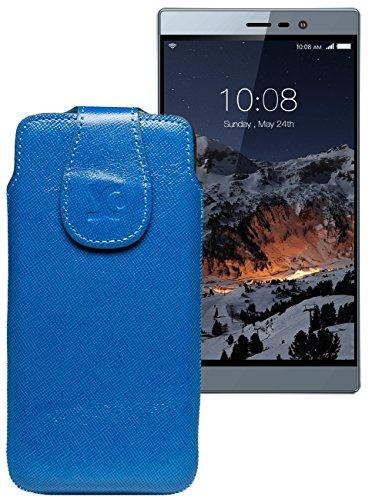 Original Suncase Tasche für Switel eSmart M3 | Leder Etui Handytasche Ledertasche Schutzhülle Hülle Hülle / in vollnarbig-blau