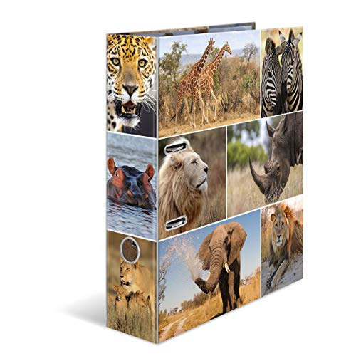 HERMA 7168 Motiv-Ordner DIN A4 Animals Afrika Tiere, 7 cm breit aus stabilem Karton mit Tier-Motiv Innendruck, Ringordner, Aktenordner, Briefordner, 1 Ordner