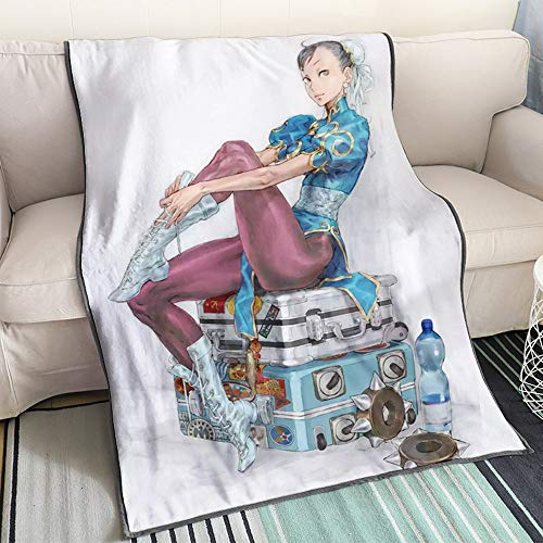 KaiWenLi Street Fighter - Chun-Li Sitting On The Suitcase/Cartoon Cartoon Blanket/Single-Sided Pattern/Soft and Comfortable/Best Bedding for Winter Heating/Suitable for Adults, Children, OTA
