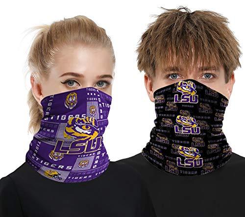2 Pcs Neck Gaiter Face Mask Scarf Breathable Sun Protection Bandana Reusable Outdoor Sports Headwear for Men and Women LSU Fans