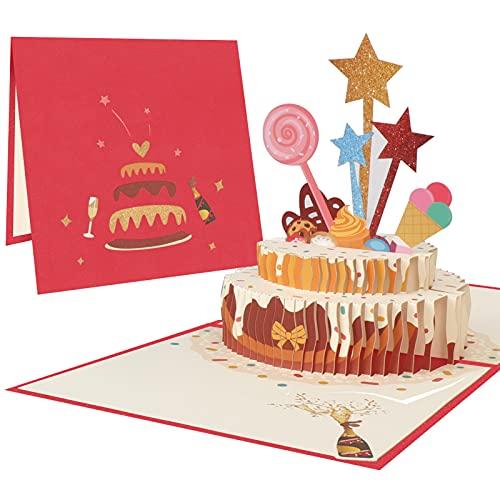 Toplive 3Dポップアップカード 誕生日カード バースデーカード 立体 バースデー立体カード 可愛い誕生日カード ケーキ 封筒やカード付き 3Dグリーティングカード ポップアップカード 手作りの贈り物 感謝 誕生日 記念日 お祝い 結婚カード レッド