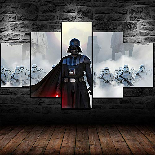 GIRDSSA 5 Panel Framed Canvas Print Modern Wall Art Home Decoration Prints Paintings Living Room XXL Large Star Wars Darth Vader Stormtroopers Hd Poster Artwork Hallway Creative Gift