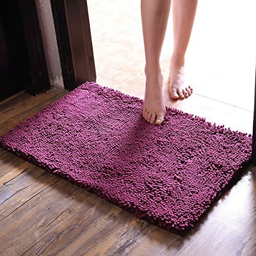 RAVCON Thick Plush Bath Mats Chenille Washable Bath Rugs Microfiber Shaggy Non Slip Bathroom Rug Absorbent Bath Rug Non Skid Backing,20x32 Inches (deep-Purple)