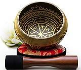 Silent Mind ~ Ensemble de bols de chantant tibétain ~ Aspect Antique ~ maillet à double surface et coussin de soie ~ Favorise la paix, la guérison des chakras et la pleine conscience ~ Cadeau exquis