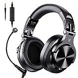 OneOdio 高性能 有線 ヘッドホン 着脱マイク ゲーミングヘッドセット DJ用ヘッドホン PC用 ヘッドセット モニターヘッドホン A71 黒