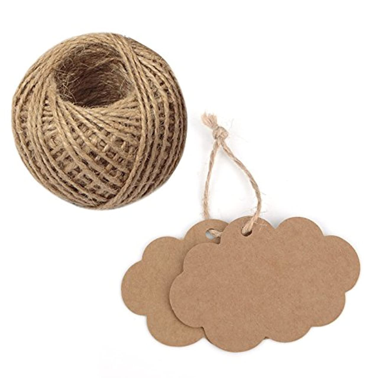 100 PCS Craft Paper Gift Tags 5CM 7CM Cloud Shape Wedding Party Favor Labels with 30 Meters Natural Jute Twine (Brown)