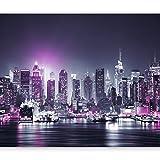 murando – Papier peint intissé 350x256 cm – Papier peint – Trompe l oeil – Tableaux muraux déco XXL – New York City ville NY Manhattan nuit Panorama highrise gratte-ciel d-C-0012-a-d