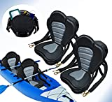 Pactrade Marine Adjustable Straps Black Gray Extra Padded Deluxe Kayak Seat Detachable Storage Backpack Bag Canoe Backrest Support Cushion Sit On Top Fishing Brass Clips Canoeing Kayaking Rafting (2)