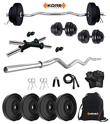 Kore PVC 10 KG Combo 3 Home Gym Set with One 3 ft Curl Rod and One Pair Dumbbell Rods with Gym Accessories