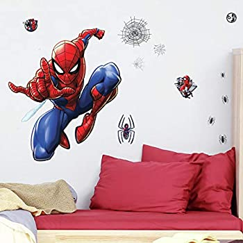 RoomMates Spider-Man Peel and Stick Wall Decals,Blue Red Black 27.36 inches x 33.61 inches