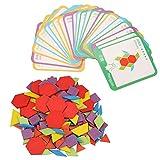Bloques de madera con patrón, 155 piezas de coloridos juguetes de tangram de forma geométrica con 24 tarjetas, juego educativo, rompecabezas, juguetes para niños pequeños, niños, niñas, a partir de 3