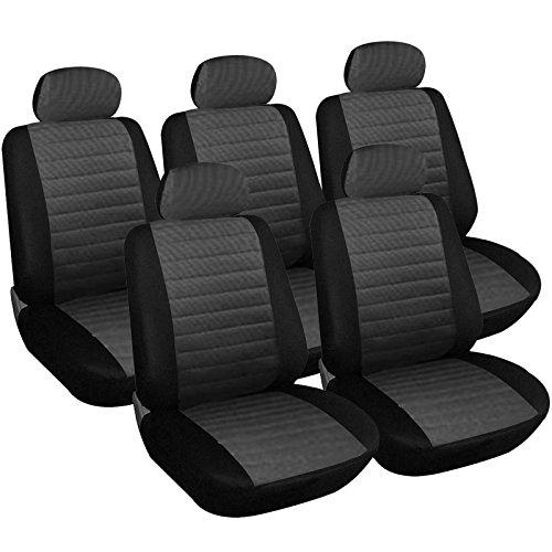 WOLTU 7231-5 Sitzbezüge Auto Einzelsitzbezug universal Größe, 5er Set, schwarz/grau