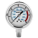 サーキュラーダイヤルは、耐食性のためにスチールケースに封入 扇形のポインター、より明確な表示 この圧力計は、安定した性能を持つ優れた圧力測定ツールです NPT1/4インチスレッド接続の場合、測定範囲は0-9000PSI/0-60MPAです。 デュアルスケールで圧力を測定(PSI/MPA)