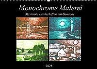 Monochrome Malerei - Mystische Landschaften mit Gouache (Wandkalender 2022 DIN A2 quer): Monochrom gemalte Ruhe Landschaften am Wasser. (Monatskalender, 14 Seiten )