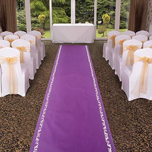 Purple Wedding Aisle Runner 3×50 ft Aisle Runner Rug with Floral Motif Bridal Floor Runners for Indoor Outdoor Wedding