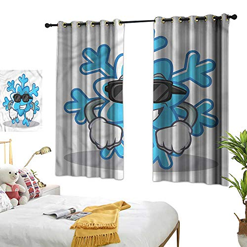Eclipse Curtains Winter,Snowflake Sunglasses Gloves 54'x84',Print Room Darkening Living Room Curtain