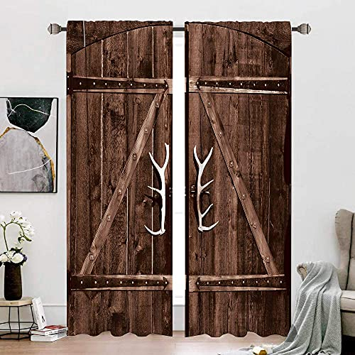 Cinbloo Country Living Room Wooden Barn Door Curtains Rod Pocket Brown Wood Garage Gate Farmhouse Vintage Rustic Antler Handles Printed Bedroom Window Drapes Treatment Fabric 2 Panels 52W x 84L Inch