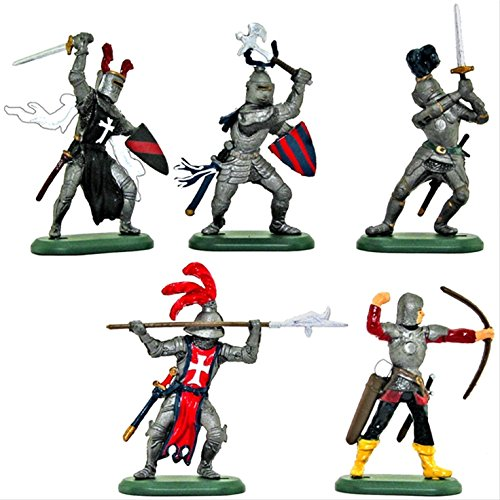 Britains Deetail Medieval Knights Toy Soldiers Set of 5 Hand Painted Plastic Figures on Metal Base