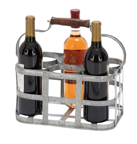 Deco 79 Farmhouse 6-Slot Metal Wine Holder with Handle, One Size, Galvanized Gray Finish
