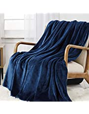 WAVVE Flanell fleece överkastfilt, supermjuk fluffig varm solid filt för säng soffa mikrofiberfilt