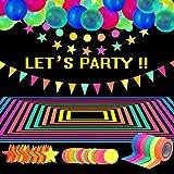 Glow Party Supplies Set de suministros de fiesta de neón, incluye 6 rollos de cinta reactiva de luz negra UV de 98.4 pies, 3 guirnaldas de papel de neón, 25 globos fluorescentes de neón