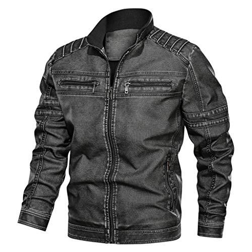 Lederjacke Herren Kunstleder Bikerjacke Jeansjacke Big Size Solid Causal Washed Lederjacke mit Stehkragen (XL,5- Dunkelgrau)