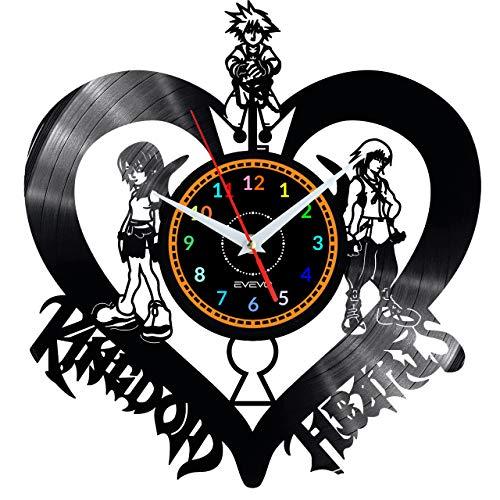 EVEVO Kingdom Hearts Wanduhr Vinyl Schallplatte Retro-Uhr Handgefertigt Vintage-Geschenk Style Raum Home Dekorationen Tolles Geschenk Wanduhr Kingdom Hearts