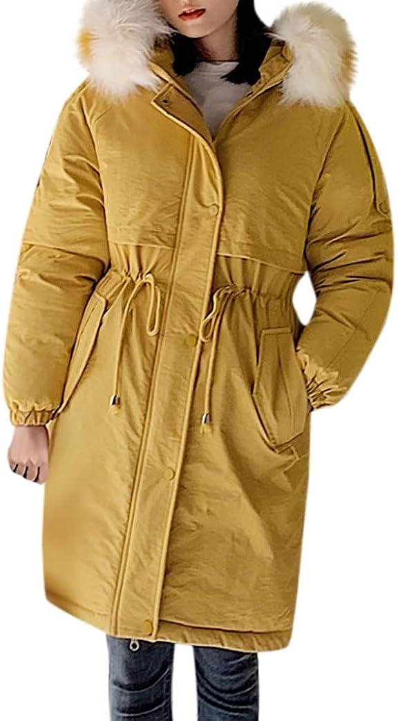 Women Down Jacket with Faux Fur Trim Hood Zipper Winter Coat Long Warm Elastic Cuffs Windproof Outerwear Overcoat