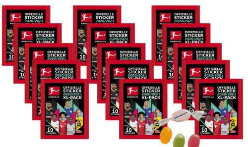Topps Bundesliga Sticker Saison 2020/2021 - 15 Stickertüten 20/21 zusätzlich 1 x Sticker-und-co Fruchtmix Bonbon