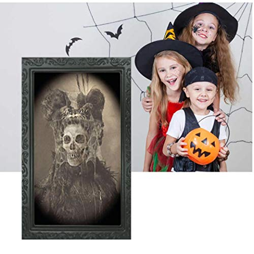 Halloween Decoration 3D Changing Face Photo Frame Horrible Photo Frame Spooky Portrait Photo Frame Horror Decoration for Halloween Masquerade Parties Haunted Houses Bar 1Pc