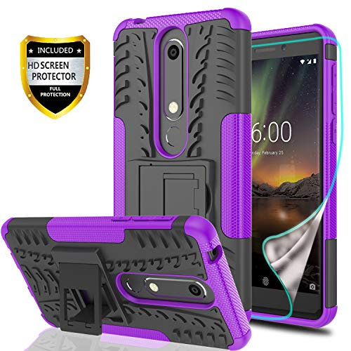 YmhxcY Nokia 6.1 Phone Case,Nokia 6 2018 Case with HD Screen Protector,Military Armor Drop Tested [Heavy Duty] Hybrid Case with Kickstand for Nokia 6 (2018)-LT Purple