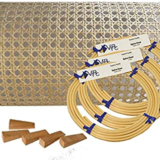 Pressed Cane Webbing Kit 1.9cm Medium Open Mesh with splines, Wedges and Instructions