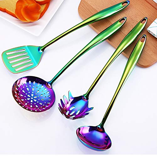 SVHK PVD Coated Utensil Tool, Long Handle Spoons, Rainbow Titanium Utensil Set, Stainless Steel Ice Cream Spoon, Colorful Plated Latte Spoo for Kitchen, Slotted Soup La Dle Skimmer Spoon Set