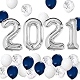 Graduation Party Supplies 2021 Decorations Kit, Silver 2021 Balloons, Navy Blue Silver and White Balloons Set, Navy Blue and Silver Graduation Decorations 2021