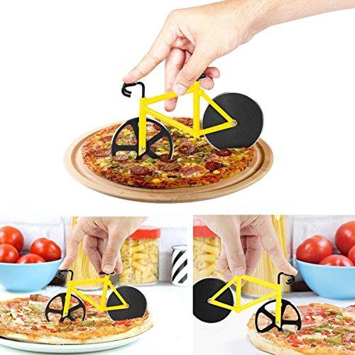WENAS Creativo Pizza Cutter in Acciaio Inossidabile Design Rotelle di Bicicletta,Antiaderent Pizza(Giallo)Per Cucina, Matrimonio,Festa di Compleanno o di Natale Regalo