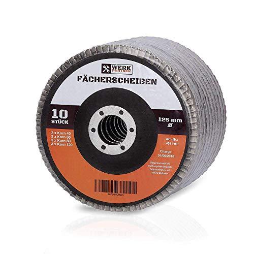 Werk-Partner Premium Schleifscheiben Set - 10 x Fächerscheibe 125 mm Ø - Körnung 40, 60, 80, 120 für Metall, Stahl & Holz - Fächerschleifscheibe für Winkelschleifer/Flex