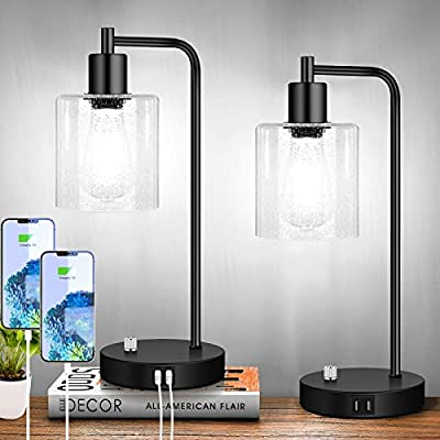 Set of 2 Fully Stepless Dimmable Industrial Table Lamps with 2 USB Ports & AC Outlet, Bedside Nightstand Desk Lamps with Seeded Glass Shades for Bedroom Dorm Living Room, 2 7W 5000K LED Bulbs Included