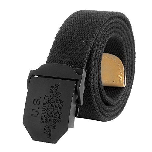 Ayliss® Militär Herren Stoffgürtel Leinwand Canvas Stoff Gürtel Jeansgürtel Belts(Schwarz, 120cm)