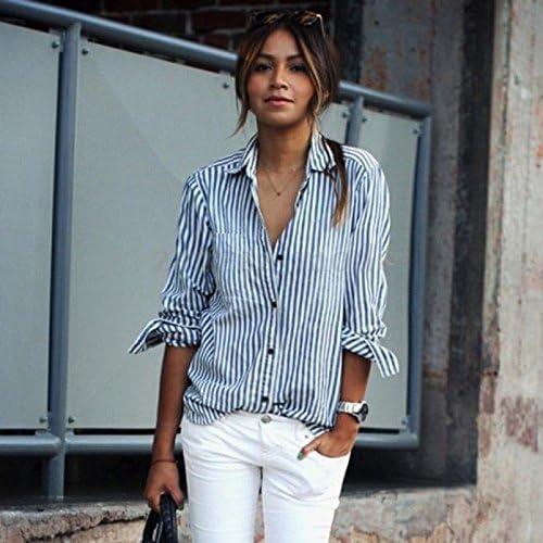 Camisa de manga larga para mujer, diseño de rayas, color azul ...