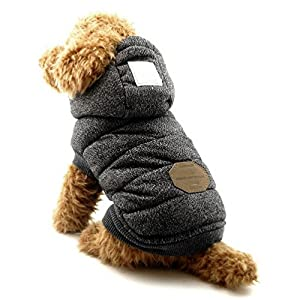 SELMAI Fleece Dog Hoodie Winter Coat for Small Boy Dog Cat Puppy Cotton Hooded Jacket Chihuahua Clothes Grey L