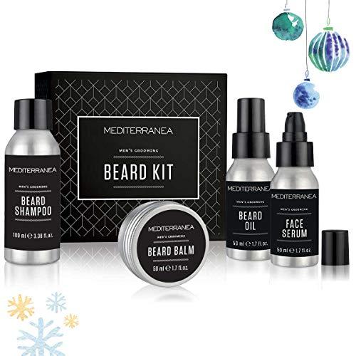 Mediterranea - Cofanetto Kit da Barba Uomo - Idea Regalo Beauty - Shampoo Barba, Balsamo, Olio da Barba e Siero Viso