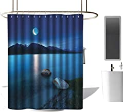 TimBeve Shower Curtain Lake,Fantasy Midnight View with Crescent Moon in The Sky Green Shoreline with Stones,Blue Grey Green,Rustproof Metal Grommets Bathroom Shower Curtain 72